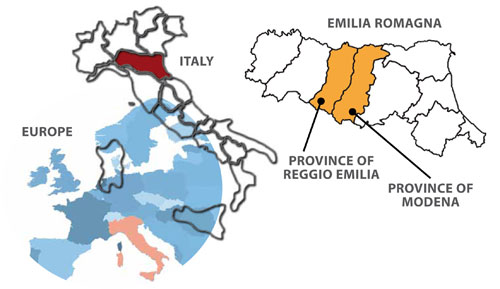 Maps of Europe, Italy and Emilia-Romagna